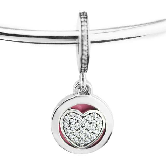 3ecb7963b Fits For Pandora Bracelets Devoted Heart Charms with Pink Enamel & Clear CZ  100% 925 Sterling-Silver-Jewelry Beads Free Shipping