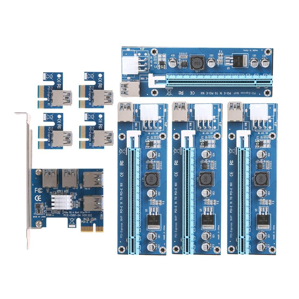 PCIe 1 à 4 emplacements PCI Express 16X carte Riser PCI-E 1X vers externe 4 adaptateur de Slot PCI-e carte multiplicateur de Port PCIe pour BTC Miner