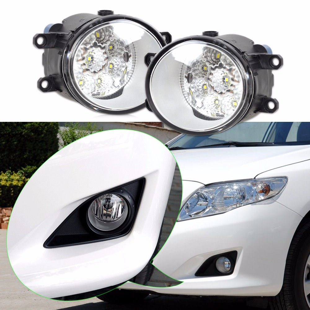 DWCX 2pcs Round Front Right/Left Fog Light Lamp Daytime Driving Running Lights For Toyota Camry Corolla Yaris Lexus GS350 RX350 1 pcs left right fog lamp with bulbs front bumper driving fog light for suzuki alto 2009 2017