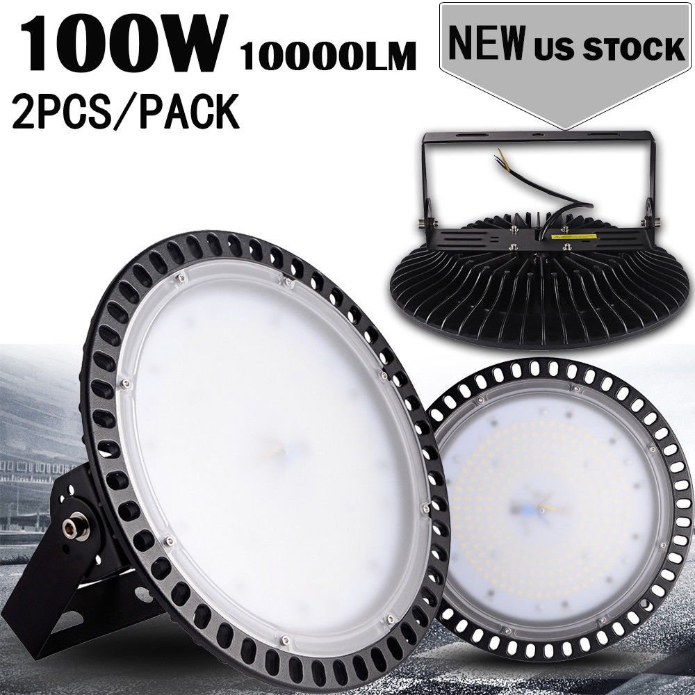 2pcs Ultraslim 110V 100W UFO LED High Bay Light Factory Industrial Warehouse Commercial lighting IP65 Cool White High Bay Lamp image