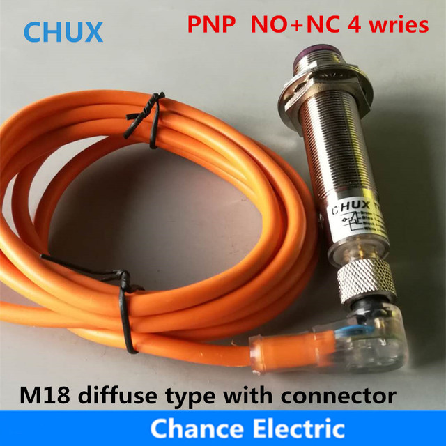 Photoelectric Sensor Switch PNP 4Wire 30cm distance NO+NC Infrared Diffuse Type (E18-3A30PCT) With Sensor Connector