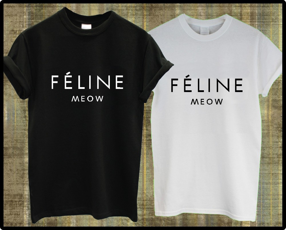 Black t shirt outfit tumblr - Aliexpress Com Buy Feline Meow Cat T Shirt Hipster Cara Tumblr Swag Top Mens Women Ladies Cotton Tee From Reliable Top Soot Suppliers On Fashion Brand