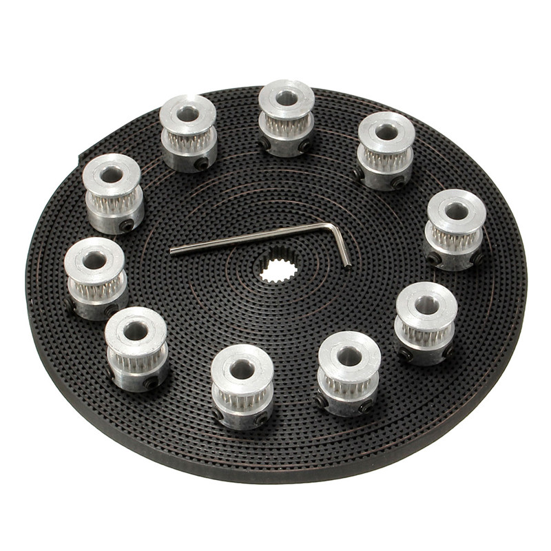 10pcs 20Teeth GT2 Timing Pulley Bore 5mm + 10m 33ft 2GT GT2 Timing Belt 6mm wide for 3D printer CNC RepRap 3d printer aluminum alloy 20 teeth timing belt pulley for s2m 2gt silver