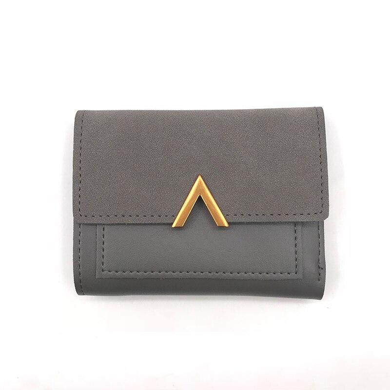 Маленький женский кошелек из матовой кожи, роскошный бренд, известные мини женские кошельки и кошельки, короткий женский кошелек для монет, кредитный держатель для карт - Цвет: Gray