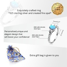 Certified Natural Blue Fire Opal Ring – 925 Sterling Silver