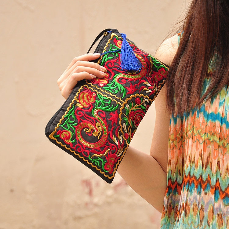 Women Bag Handbag Wallet Purse National Retro Embroidered Phone Change Coin With Tassel