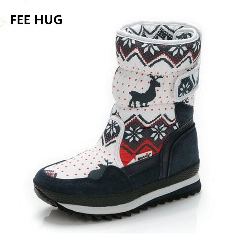 купить FEE HUG Women Winter Snow Boots Round Toe Antiskid Outsole Lady Warm boots Christmas Deer Flats Buckle Boots Plush Fur Shoes дешево