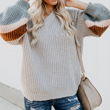 Women's Sweater Top V-neck Long Sweater Fashion Color Matching Stripes Casual Loose Autumn Sweater Mustard Yellow 2019 NEW недорго, оригинальная цена