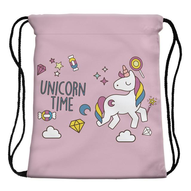 Unicorn Printed Drawstring Women's Backpack