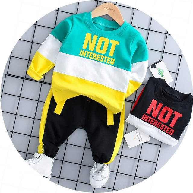 bdb5b87cd New 2018 Children Clothing Sets Spring Autumn Baby Boy Girls rainbow Shirts  + Pants 2pcs Fashion