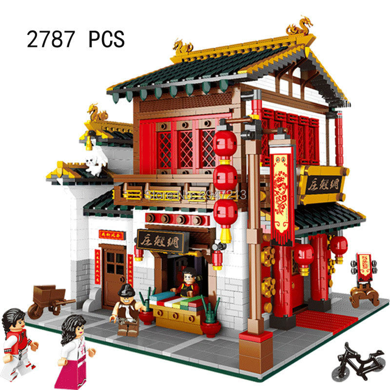 compatible lepin city mini Street View Building blocks Chinatown satin silk store with saleman figures Toys for children gift hot sembo block compatible lepin architecture city building blocks led light bricks apple flagship store toys for children gift