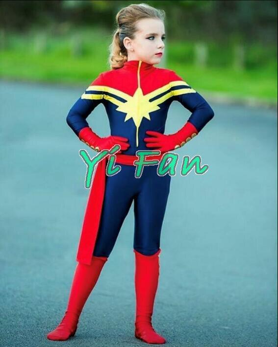 Kids Ms Marvel Costume Captain Marvel Superhero Costume Spandex Cosplay Costume for Halloween Zentai Bodysuit Hot