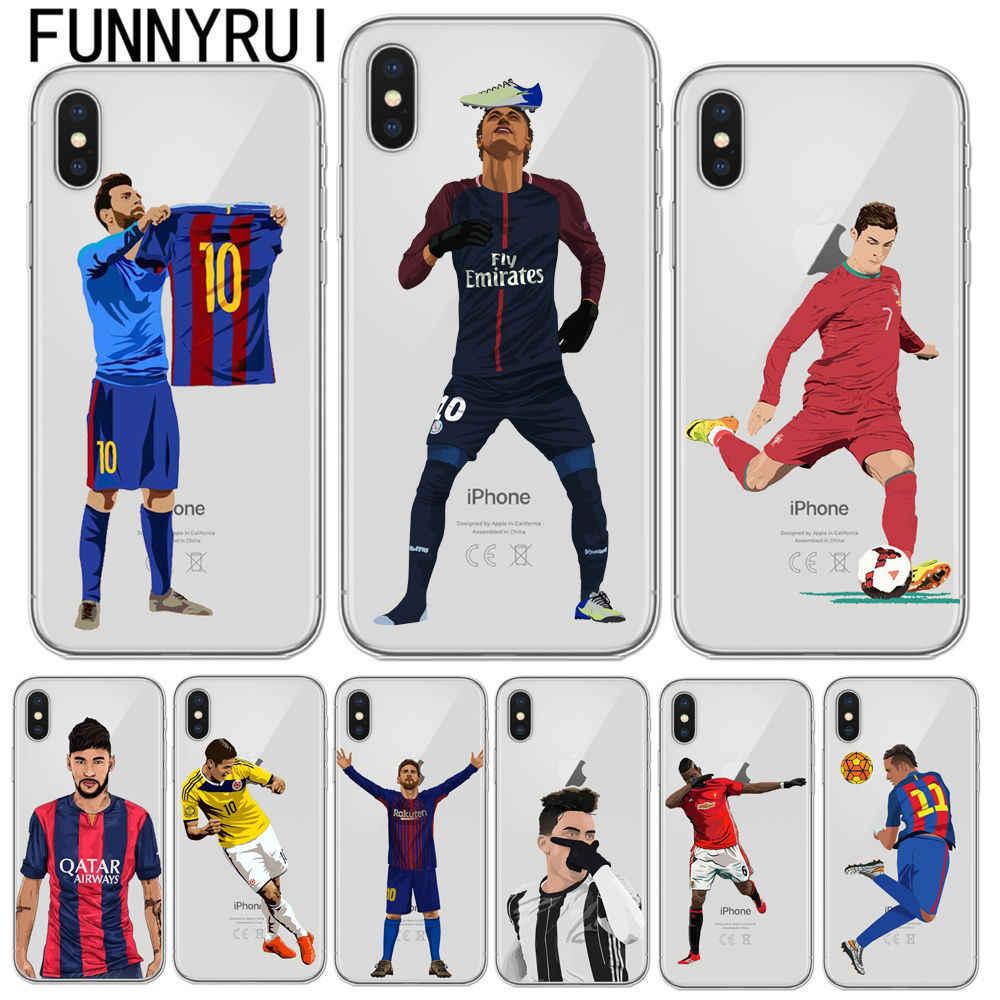 89528163a Phone Case Messi Neymar Cristiano Ronaldo Barcelona Football Jersey For iphone  6 6S 7 8 Plus