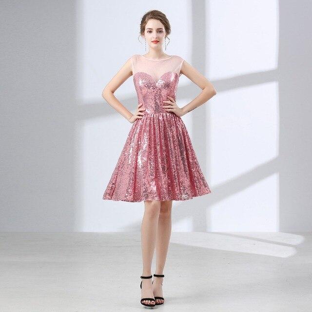 JaneVini Pink Sequined Bridemaid Dress Short Sexy 2018 Elegant A Line Formal Wedding Party Dress Robe Rose Demoiselle D'honneur