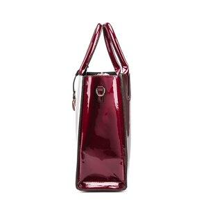 Image 4 - Sacos de moda feminina de couro de patente sólida brilhante senhoras bolsas de luxo simples ombro ocasional mensageiro sacos sac a principal
