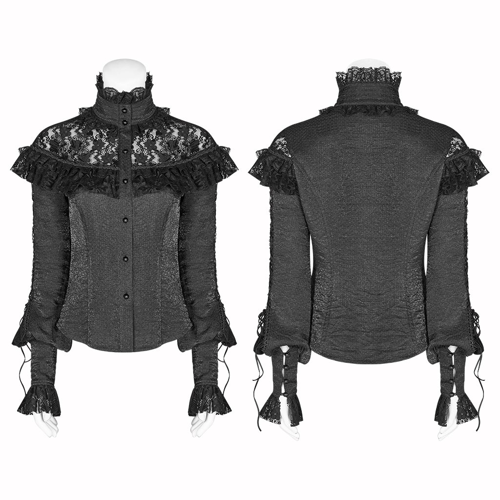 Steampunk Gothic Ronde Kraag Rozen Bloemen Flare Lange Mouw Zwart Sexy Kant Shirt Voor Vrouwen Punk Hol Swallow staart Shirt - 5