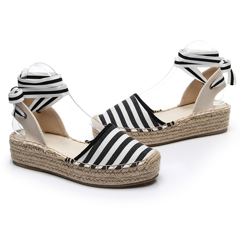 Summer Black Striped Wedge Espadrilles Women Sandals Closed Toe Lace Gladiator Sandal Women Casual Lace Up Women Platform Sandal (12)