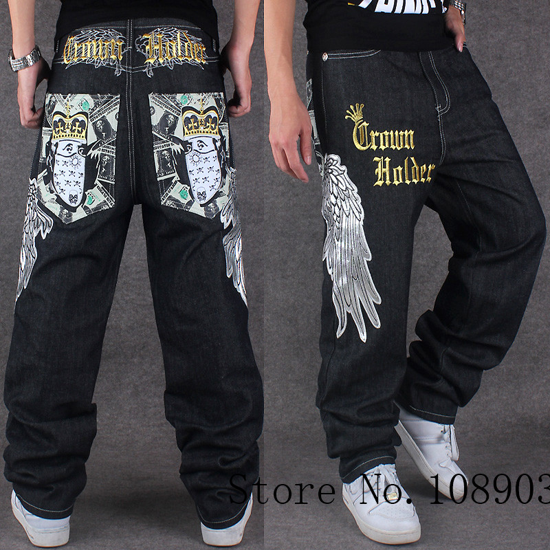 Men hip hop jeans skateboard men baggy jeans street style denim hiphop pants loose jeans rap 4 Seasons trousers big size 30-44 2017 men s black baggy jeans hip hop designer brand skateboard pants loose style plus size 30 46 hiphop rap jeans
