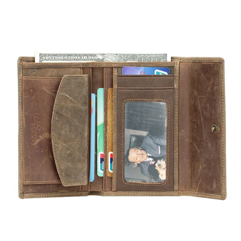 ФОТО MS Hot  Men's Crazy  Horse Genuine Leather Men's Card Wallet Hipster Purse Checkbook Cash Receipt holder Hasp Coin Wallet Q319