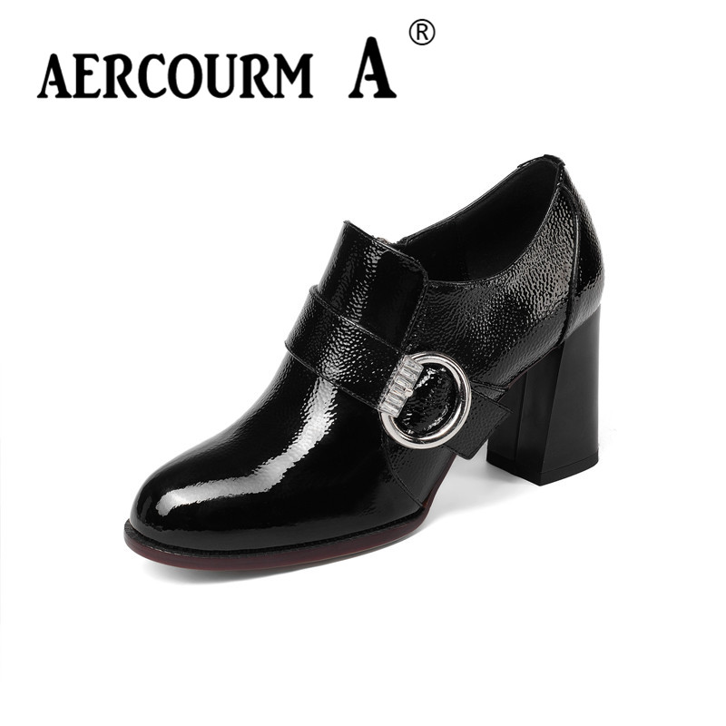 Aercourm A 2018 Black Fashion Spring Autumn Pumps Shoes Round Toe Shallow Thick Heel Women High Heels Patent Leather Shoes Z312 siketu 2017 free shipping spring and autumn high heels shoes fashion women shoes wedding shoes thick sandalsl pumps g042