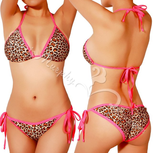 b01e1c48d4 High quality Sexy Leopard Print Swimsuit Halter Bikini Bathing suit Set  BN602 LPB