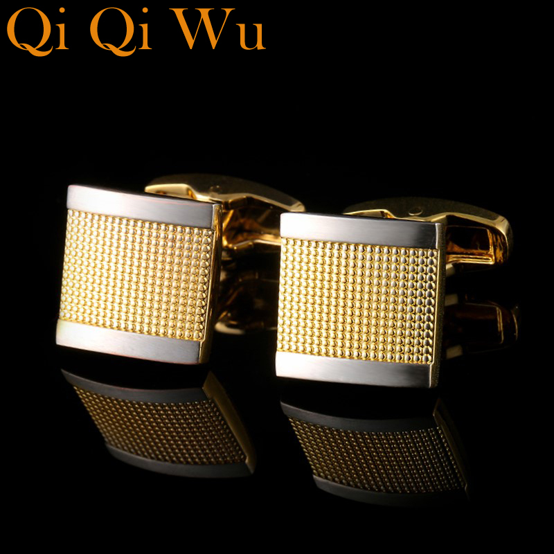 French Shirt Cufflink for Mens Designer Brand Cuffs links Button Gold High Quality Luxury Wedding Male Jewelry Free Shipping maishenou shirt luxury cufflinks for mens brand wedding gift cuffs button with crystal cuff links high quality free shipping