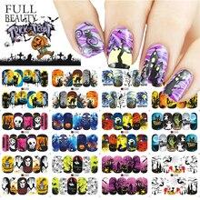 Pełna uroda 1 zestaw Halloween woda Transfer paznokci naklejka artystyczna czaszka duch Clown dynia Manicure paznokci suwak naklejka Decor CHSTZ/A