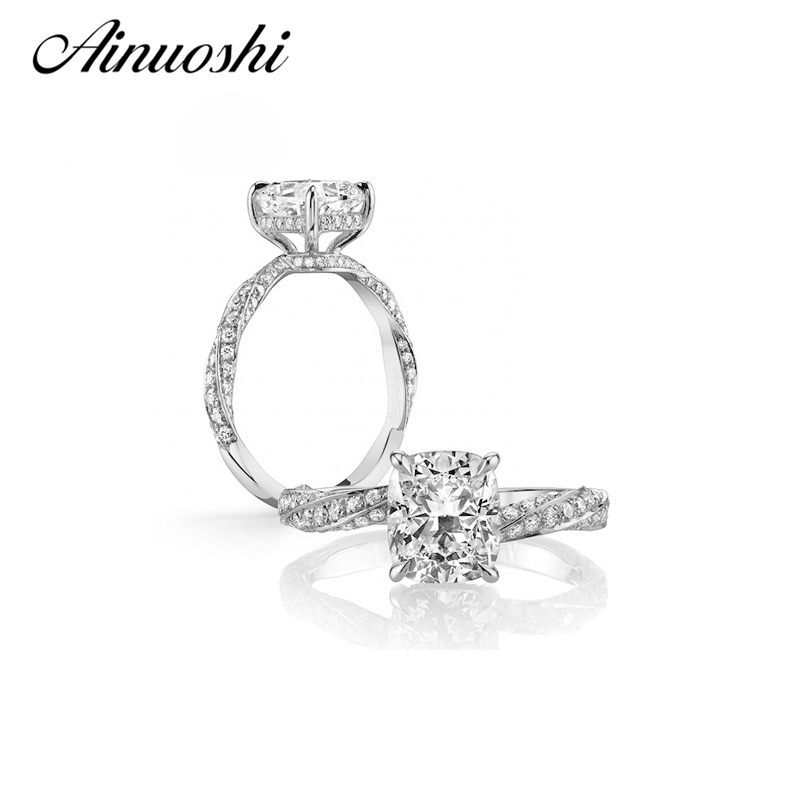 AINUOSHI 3 ct Cushion Cut Zircon Wedding Anniversary Engagement Ring Solid 925 Sterling Silver Sona Simulated Band for WomenAINUOSHI 3 ct Cushion Cut Zircon Wedding Anniversary Engagement Ring Solid 925 Sterling Silver Sona Simulated Band for Women