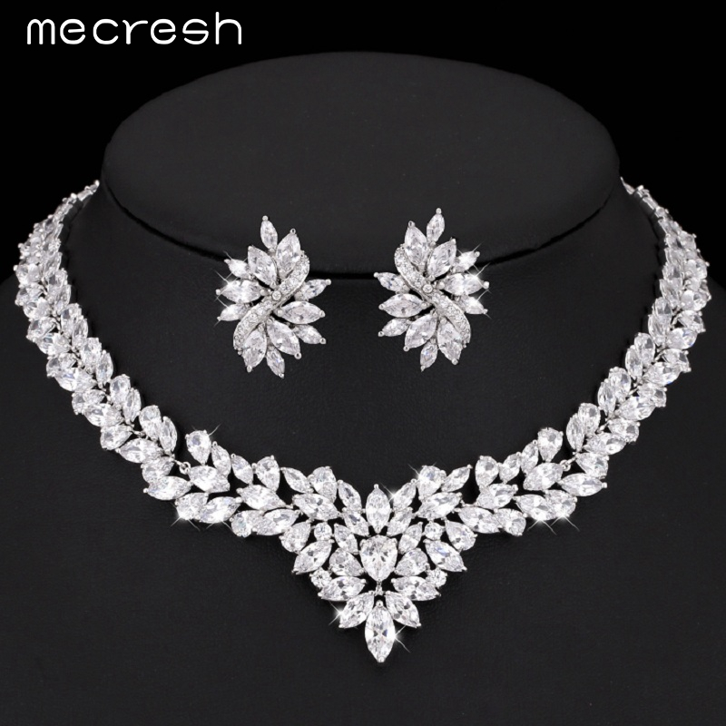 Mecresh Gorgeous Flower Bridal Jewelry Sets Silver Color Cubic Zirconia Earrings Necklace Sets Wedding Parure Bijoux Femme TL333 emmaya luxury freshwater pearl bridal jewelry sets silver color earring necklace set wedding jewelry parure bijoux femme