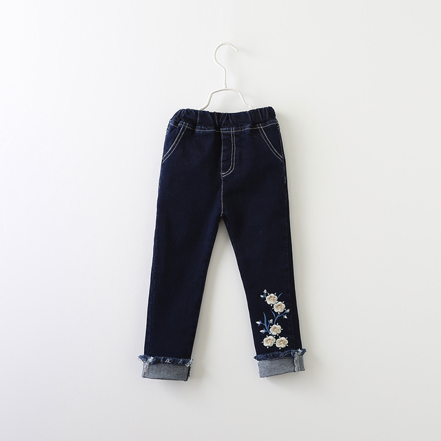0236fd9e5 Baby Girls Jeans Spring Autumn Embroidery Tassel Trousers Children ...