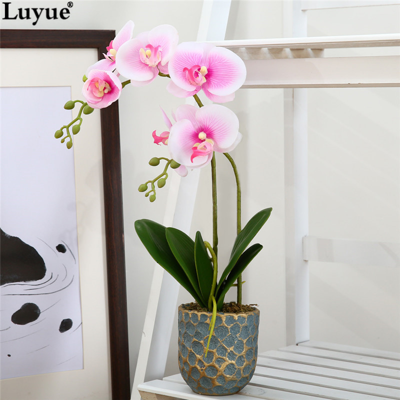 Luyue official store artificial phalaenopsis orchid pot for Real plants for home decor