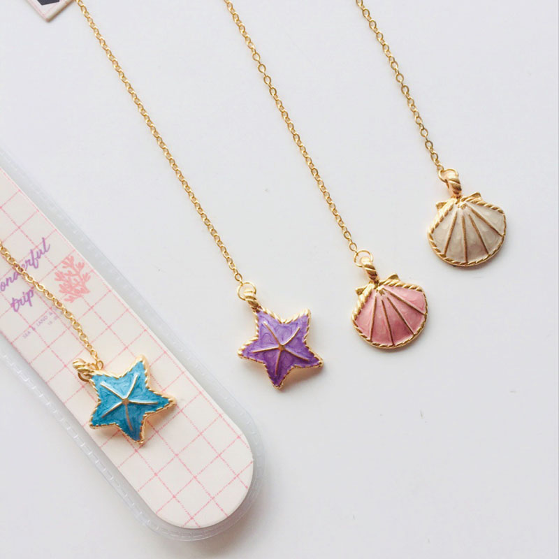 Fresh Ocean Shell Metal Chain Style Metal Pendant Bookmark Marker Of Page Paper Clip School Office Supply Student Stationery