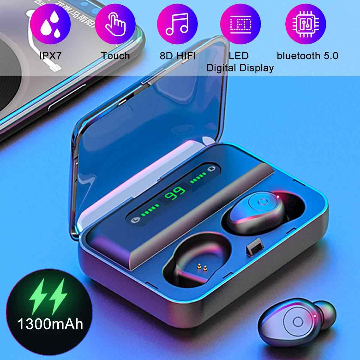 TWS bluetooth 5.0 Earphone LED Display Smart Touchs 8D Stereo IPX7 Waterproof Wireless Earbuds Headset 1300mAh Charging box
