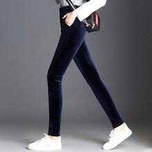 חורף קטיפה חם חותלות נשים בתוספת גודל 5XL 6XL קטיפה גבוהה מותניים מכנסיים סקיני נמתח מקרית ארוך מכנסיים אישה