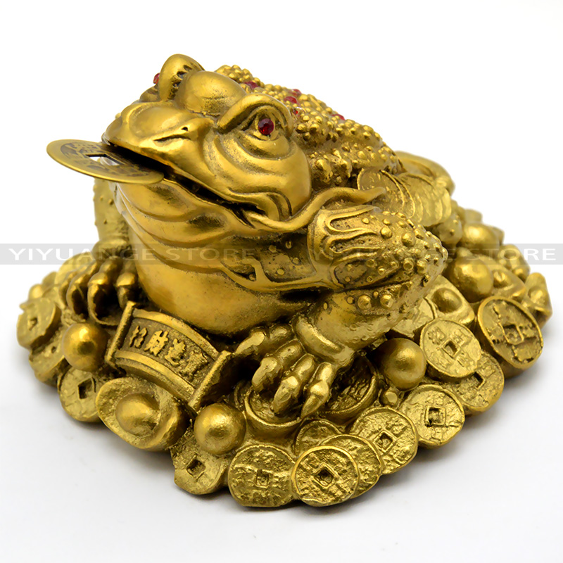 new feng shui small three legged money for frog fortune brass toad chinese coin metal craft home. Black Bedroom Furniture Sets. Home Design Ideas