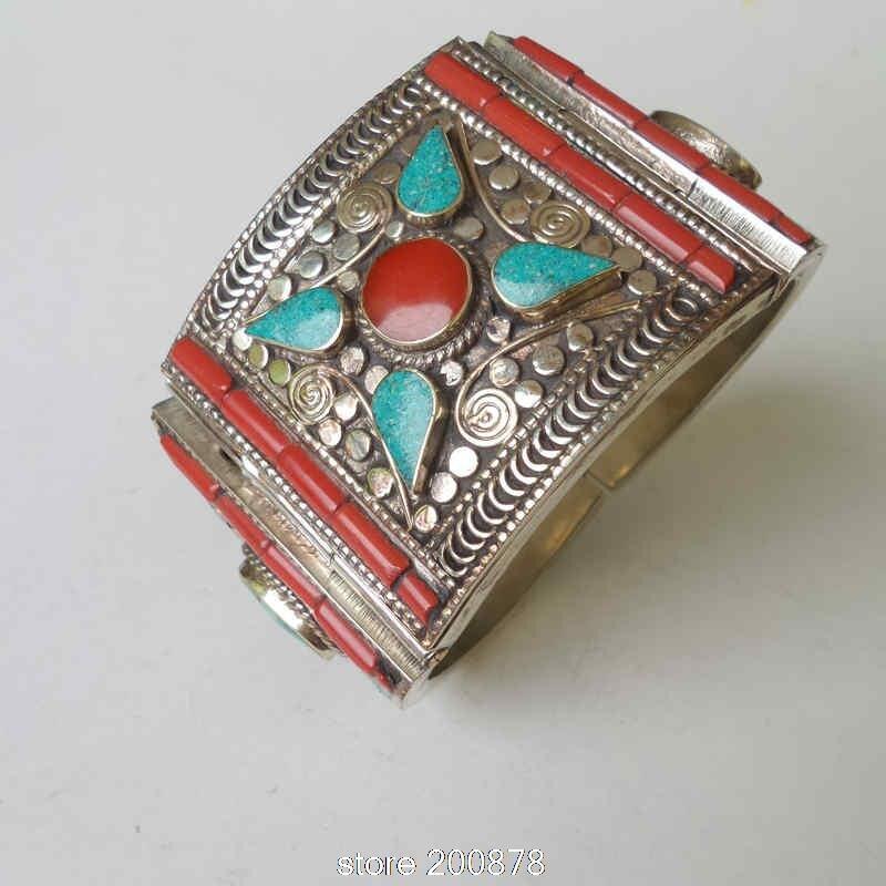 BB 485 Fine Quality Tibetan Dancing Open Cuff Bangle Locket Nepal vintage Jewelry