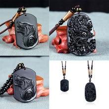 Nueva Moda Natural Negro Obsidiana Talla Estatuas de Animales Lobo Dragón Afortunado Envío Cuentas de Ágata Collar Colgante de 66 cm