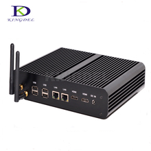 Тонкий клиент Безвентиляторный barebone Mini PC Intel core i7 5500U home theater PC Dual LAN Dual HDMI + USB 3.0 Оптический порт WI-FI