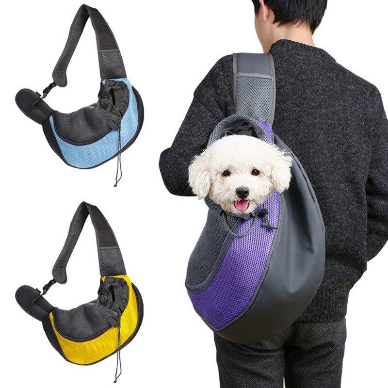Ev ve Bahçe'ten Köpek Taşıyıcıları'de Açık seyahat el çantası Pet köpek taşıyıcı kılıfı Mesh Oxford basit omuz çantası Sling örgü konfor seyahat bez omuzdan askili çanta HZ1 Store