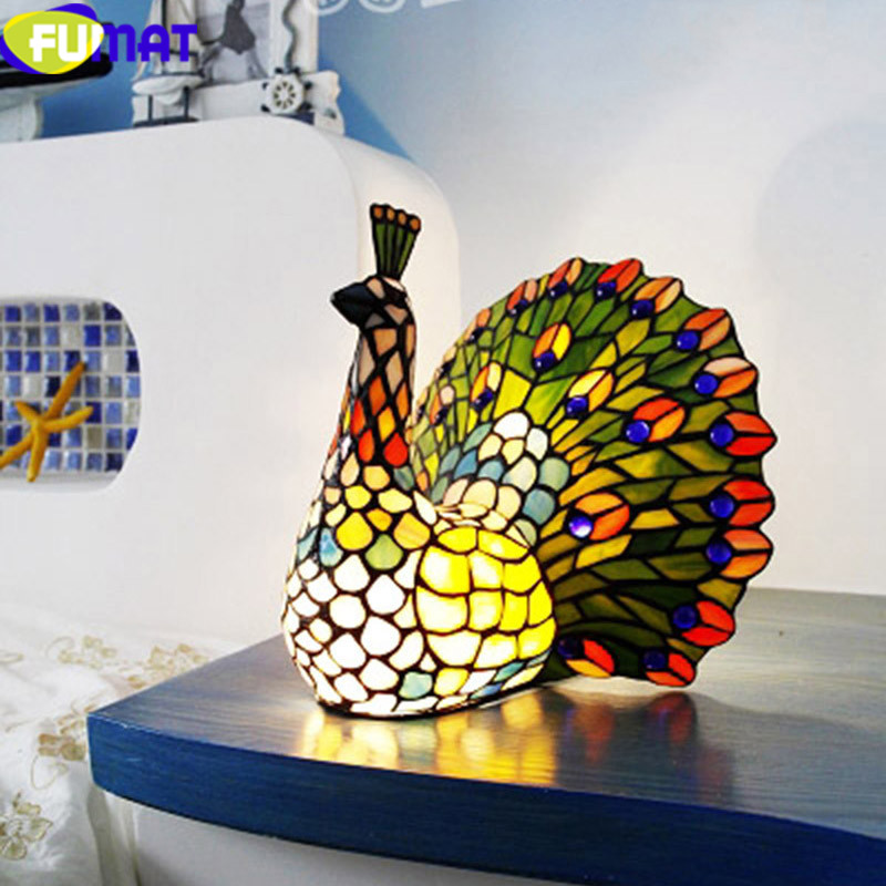 FUMAT Tiffany Table Lamp LED Peacock Stained Glass bedroom bedside lamp Shade Desk Lamps Art Home