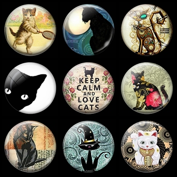 Keep Calm and Love Cats 30MM Fridge Magnet cartoon lucky Cat Glass Cabochon Magnetic Refrigerator Stickers Note Holder