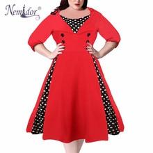 Nemidor Half Sleeve Elegant Patchwork Dress