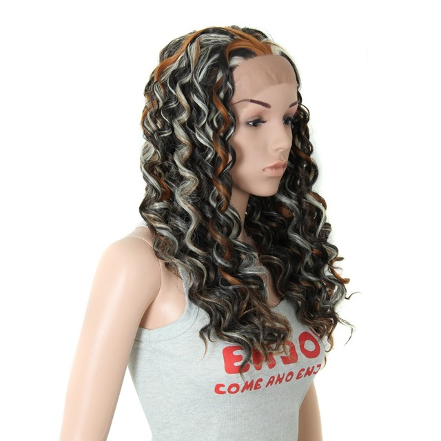 26cheap Front Lace Wig With Blonde Highlights Synthetic Long Curly