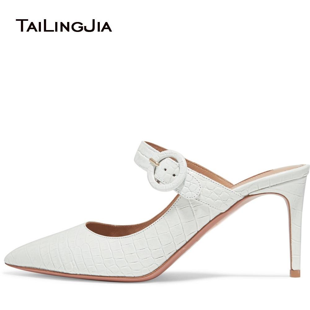 Blanc décontracté femmes Mules sans lacet dame bout pointu mi 9 CM hauteur de talon sandales chaussures d'été boucle grande taille pompes livraison gratuite