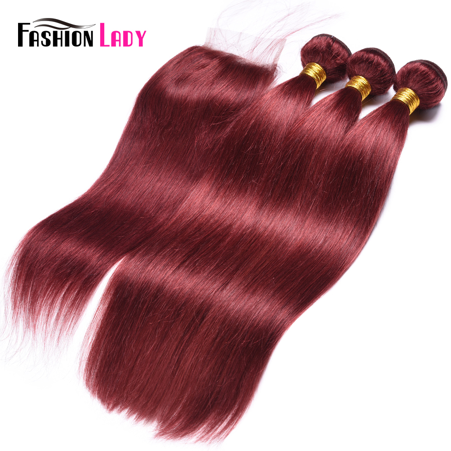 Fashion Lady Pre-Colored Red Hair 3 Bundles With Closure 33# Peruvian Straight Human Hair Weave With Lace Clousure Non-Remy