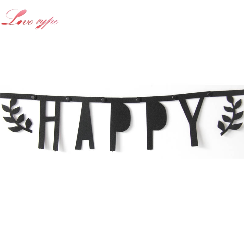 1Set Black Non-wovens Flags Happy Birthday Garland Floral Bunting Banners Letter Garlands Baby Kids Birthday Party Decorations