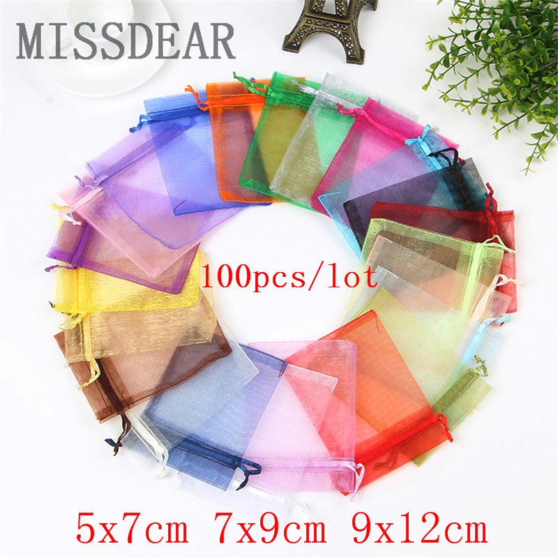 100pcs 5x7 7x9 9x12 CM Small Organza Bags Jewelry Packaging Bags Wedding Party Decoration Drawable Gift Bags Pouches 22 Colors