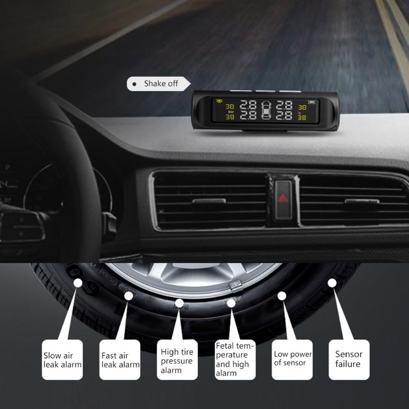 Solar Power Car Tyre Pressure Alarm System TPMS Wireless Tire Pressure Monitoring System With LCD Color Display High Quality d2 with 2 temperatures tyre warmer color