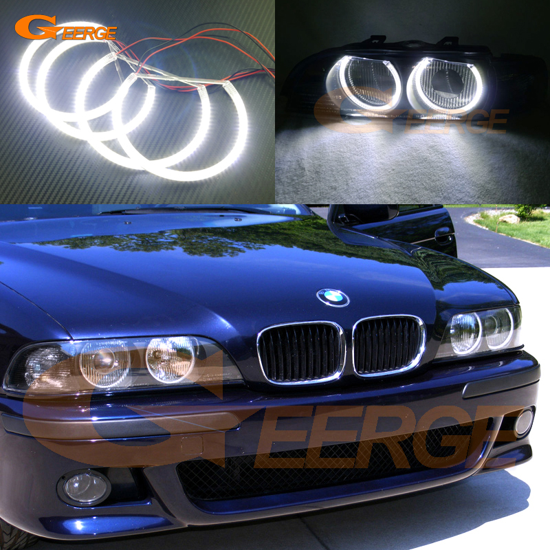 For BMW 5 SERIES E39 525i 528i 530i 540i 1997-2000 Excellent angel eyes Super bright 3528 SMD led Angel Eyes Halo Ring kit super bright led angel eyes for bmw x5 2000 to 2006 color shift headlight halo angel demon eyes rings kit