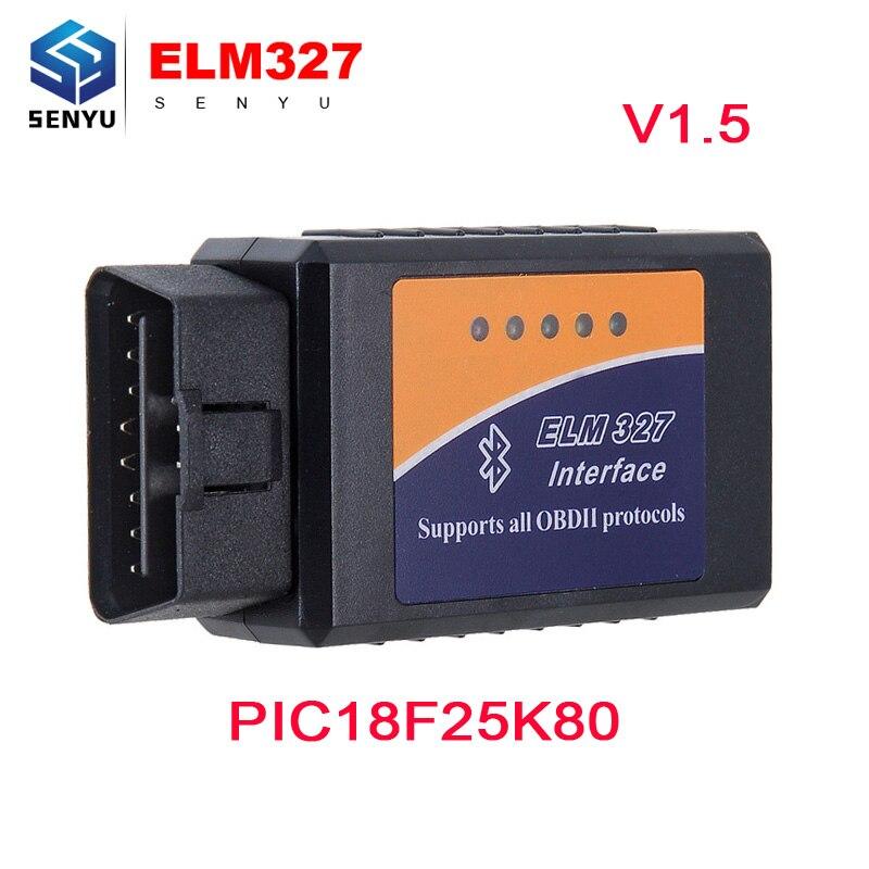 Prix pour ELM327 V1.5 bluetooth Avec PIC18F25K80 De Diagnostic Scanner elm 327 v1.5 OBD OBD2 Bluetooth Scanner Fonctionne Pour Android Couple